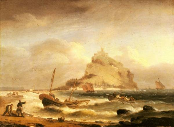 Fishermen Rowing In Before St Michaels Mount